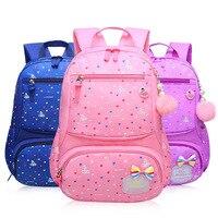 Student Backpacks Girls POM Pendant children school bags primary Backpack Kids orthopaedics protection three colors Waterproof