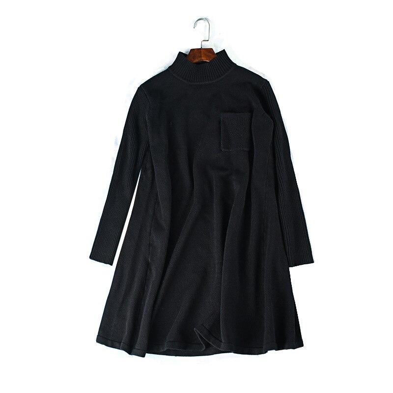 5XL إلى 8XL حجم كبير سترة فستان ألف خط جيوب الياقة المدورة طويلة الأكمام الشتاء بلوفر مغزول ملابس خارجية TS4039
