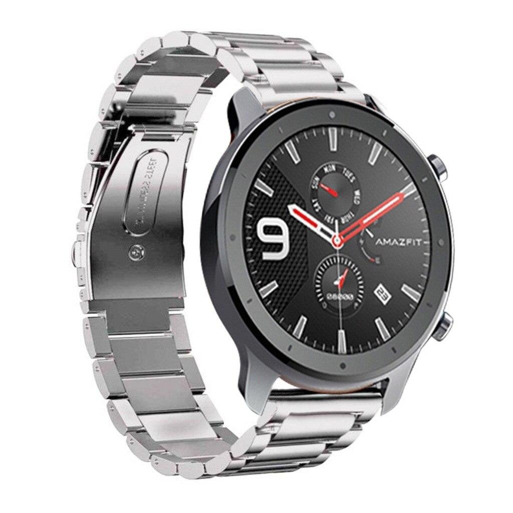Pulseiras de relógio pulseira para amazfit gtr relógio inteligente 47mm moda luxo aço inoxidável pulseira metal relógio banda 19jul30