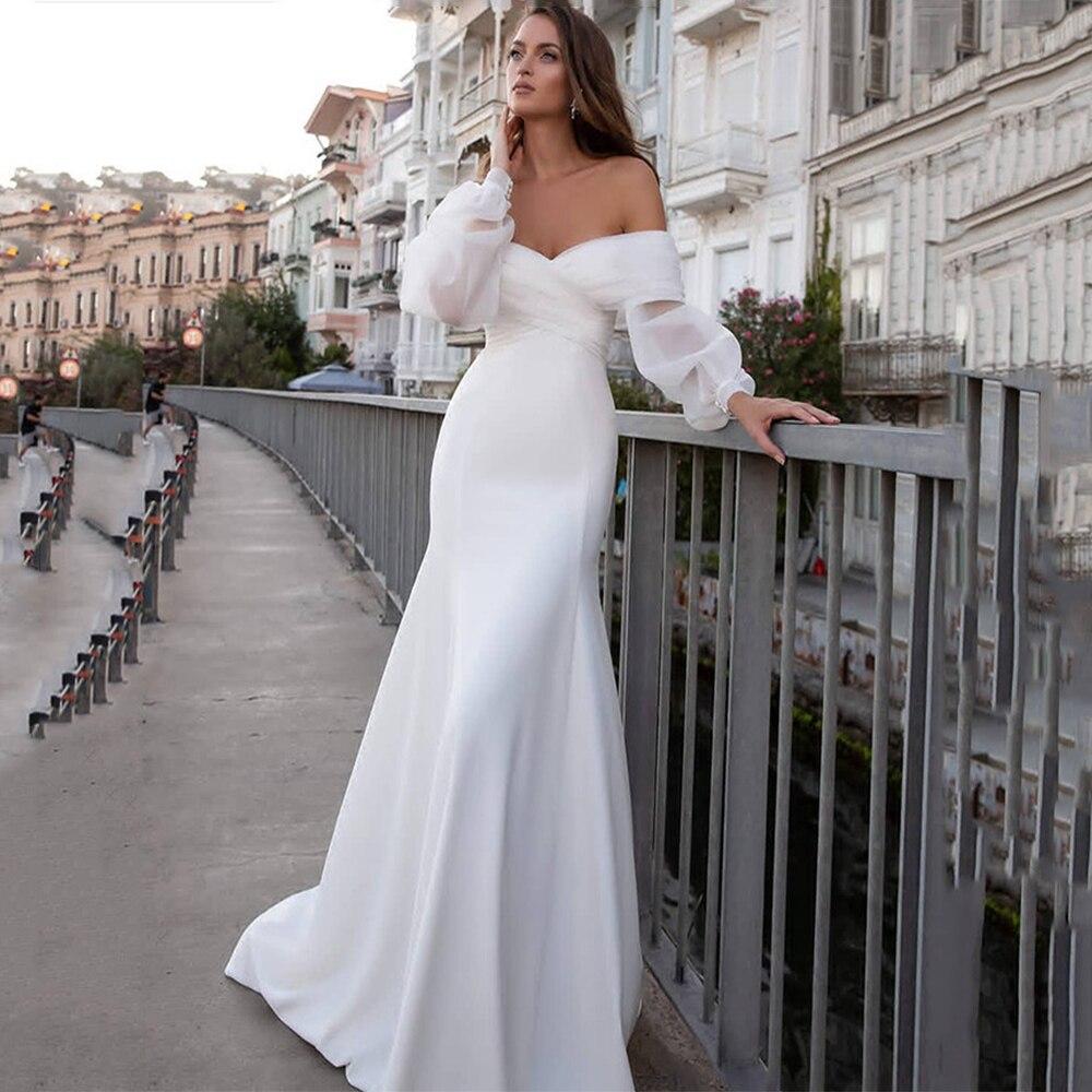 Promo Satin Mermaid Weddding Dresses Robe De Marie 2021 Sexy Boho Long Puff Sleeves Off the Shoulder Sweep Train Bridal Gowns