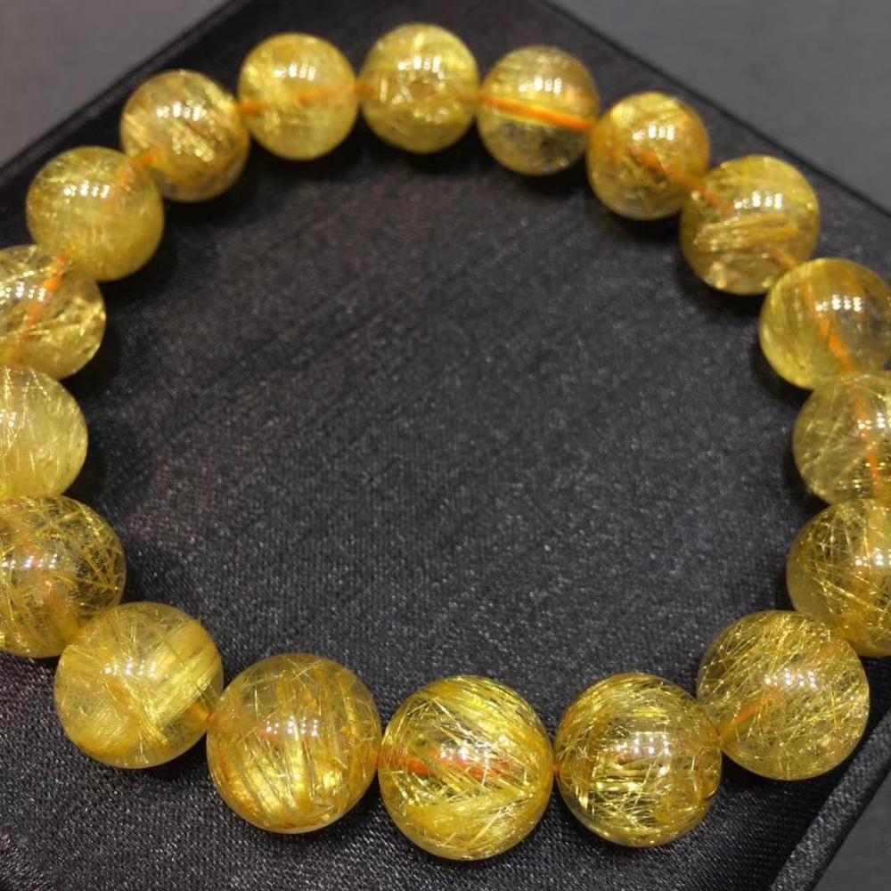 Get 11mm Top Natural Gold Rutilated Quartz Crystal Woman Gemstone Best Round Beads Bracelet Jewelry Brazil Genuine AAAAA