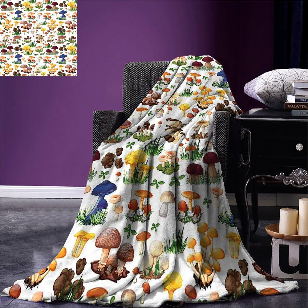 Patrón de Manta con forma de seta con tipos de setas especies salvajes orgánica Natural Food Garden Theme manta para cama sofa