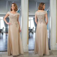 Plus Size Mother Of The Bride Dresses A-line Off-Shoulder Floor-Length Pleat Lace Applique Bead Crys