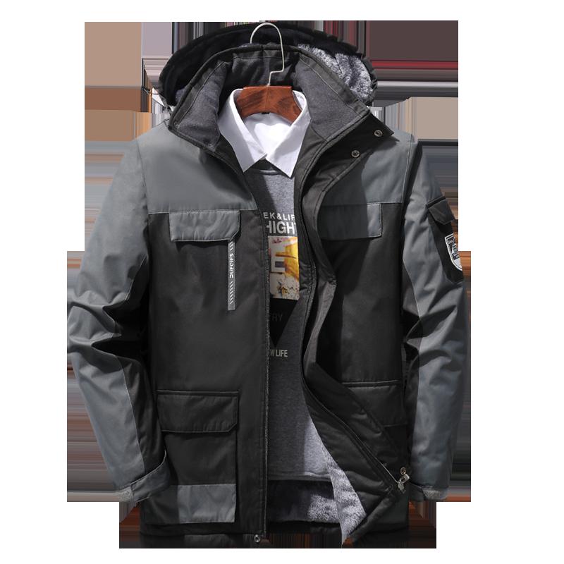 Зимняя парка Мужская ветровка плюс бархатная Толстая теплая ветрозащитная шуба мужские военные куртки из анорака с капюшоном мужские зимн...