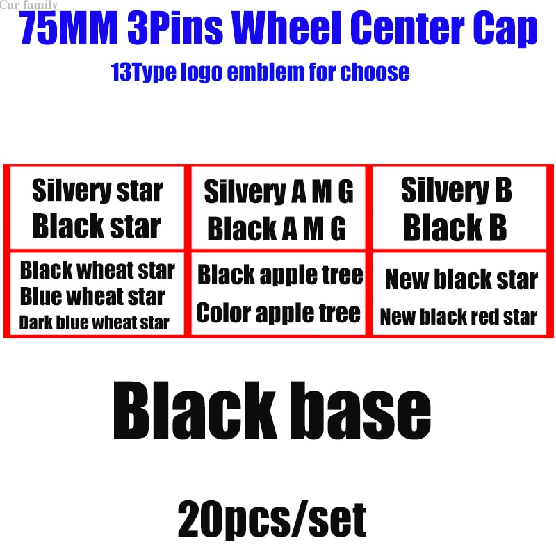 20pcs ABS black base Car Emblem Logo Wheel Center Cap Covers 75MM 7.5CM For W211 W203 W204 W124 W201