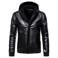 2020 winter hood men jacket leather plus size 5xl solid motorcycle jacket leather male slim fit impo