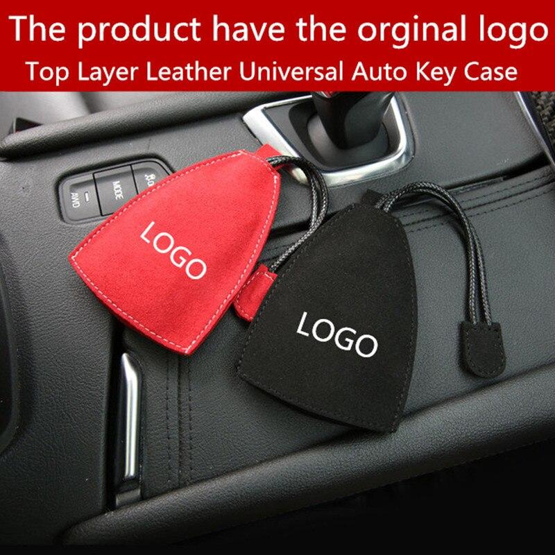 1 Uds. Funda Universal de cuero de capa superior para llave de coche con cartera de la llave del coche de gamuza de alta calidad para Mercedes Benz AMG W203 W204 W208 W210