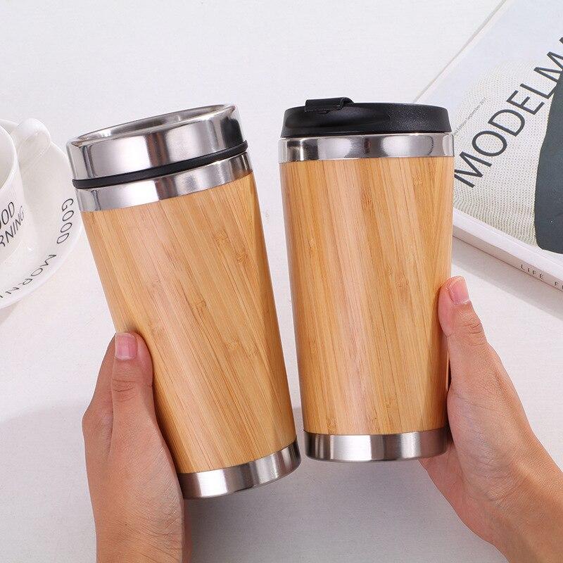 450 мл бамбуковый тумблер для путешествий кофейная кружка из нержавеющей стали с герметичной крышкой изолированный термос экологически чис...