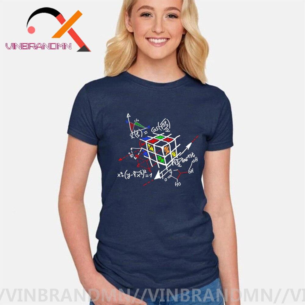 New Designer Geométrica Cubo Rainbow Relatividade Matemática Mágica T Camisas Fatoração Celular The Big Bang Theory Engraçado Tshirt mulher
