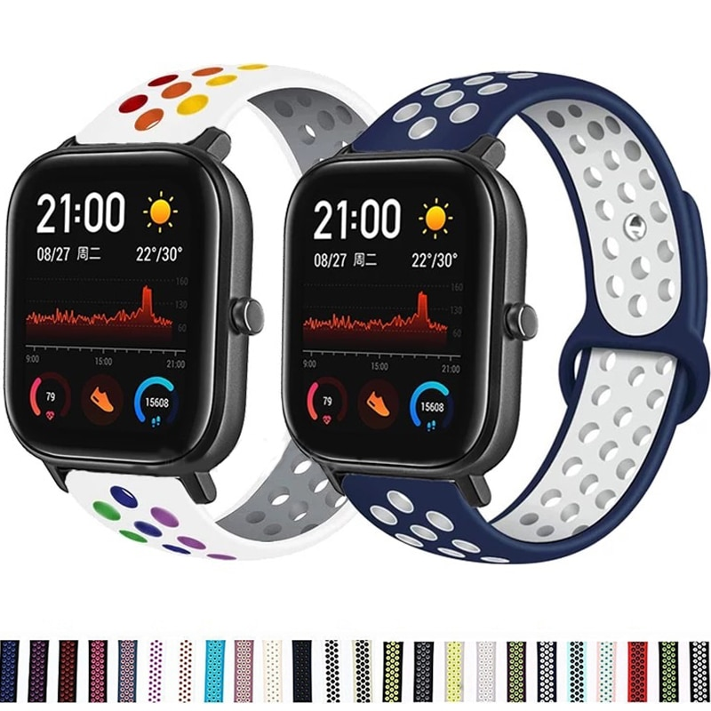 Pulseira de silicone respirável para xiaomi huami amazfit gts 2e/gts 2 mini/gtr 42mm relógio inteligente faixa esportiva para amazfit bip/bip s u pro
