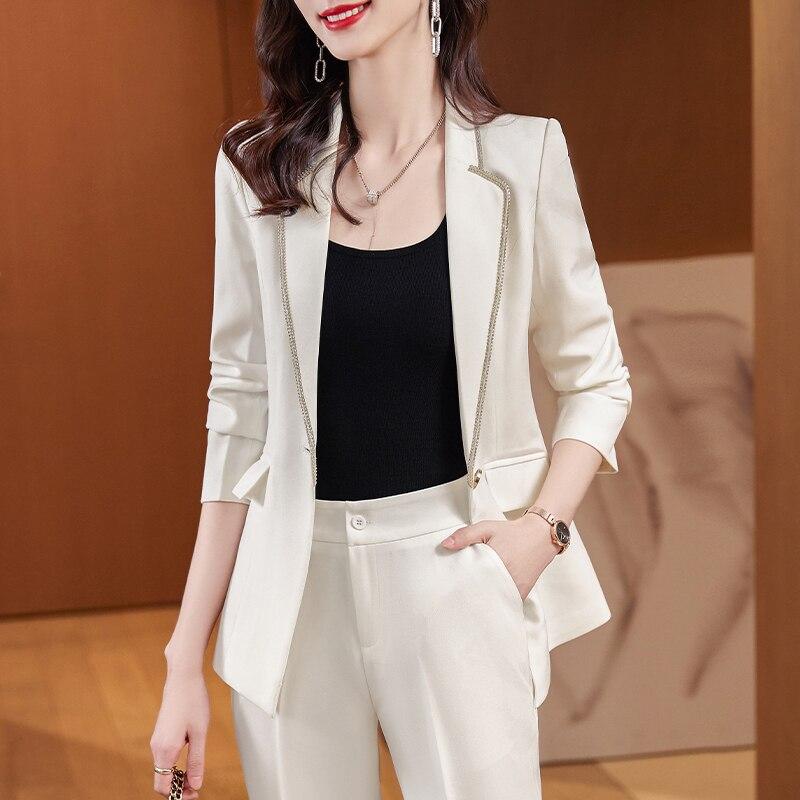 نسيج عالي الجودة أنيق أبيض حجم كبير رسمي موحد تصاميم pantsuit خريف شتاء محترف عمل بليزرات مجموعة
