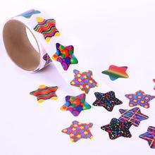 100pcs/1 roll reward stickers roll kids sticker scrapbooking star heart 3D cartoon characters funny Toys for Children