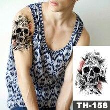 Tatuaje temporal impermeable pegatina calavera Rosa patrón agua transferencia jet hombre salvaje Arte del cuerpo flash tatuaje falso