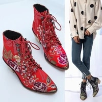 2021 fashion retro women boots embroider ethnic ankle boots lace up pointed toe flat heel shoes warm boots red black booties