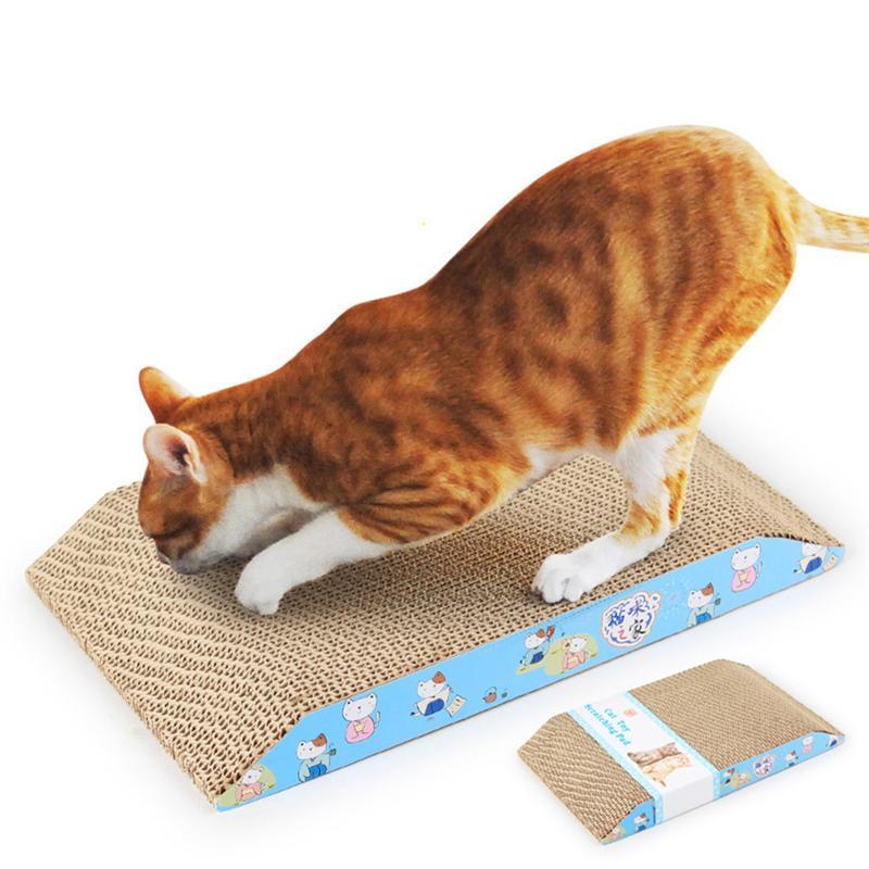 1 unidad de juguete trapezoidal para mascotas, gato, rascador corrugado con regalo, juguete de hierba gatera, cartón seguro, ratón, pez, gato, rascador, productos para mascotas