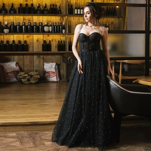Spaghetti Straps Beading Evening Dress 2021 New Plus Size Tulle Black Woman Prom Party Gown Floor Length Vestidos De Noche