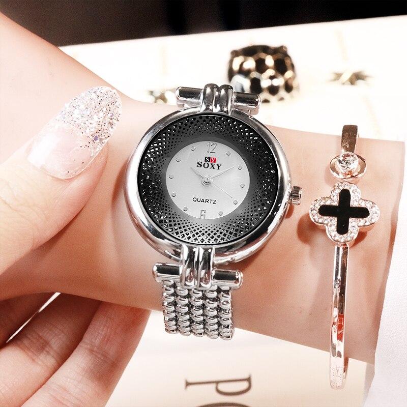 Mode Luxus frauen Uhren Kreative Grid muster Design Uhren Edelstahl Marke Quarz Kleid Uhr Relogio Feminino
