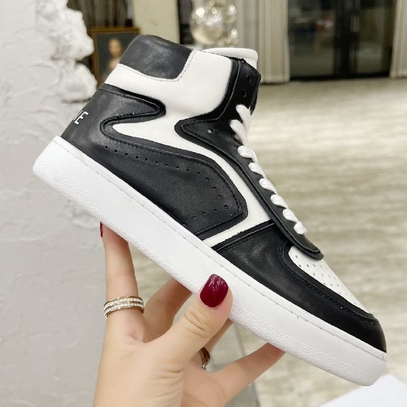 Luxury Brand Women Sneakers 2021  High Top Round Toe Female Thick Platform Breathable Out Walking Ru