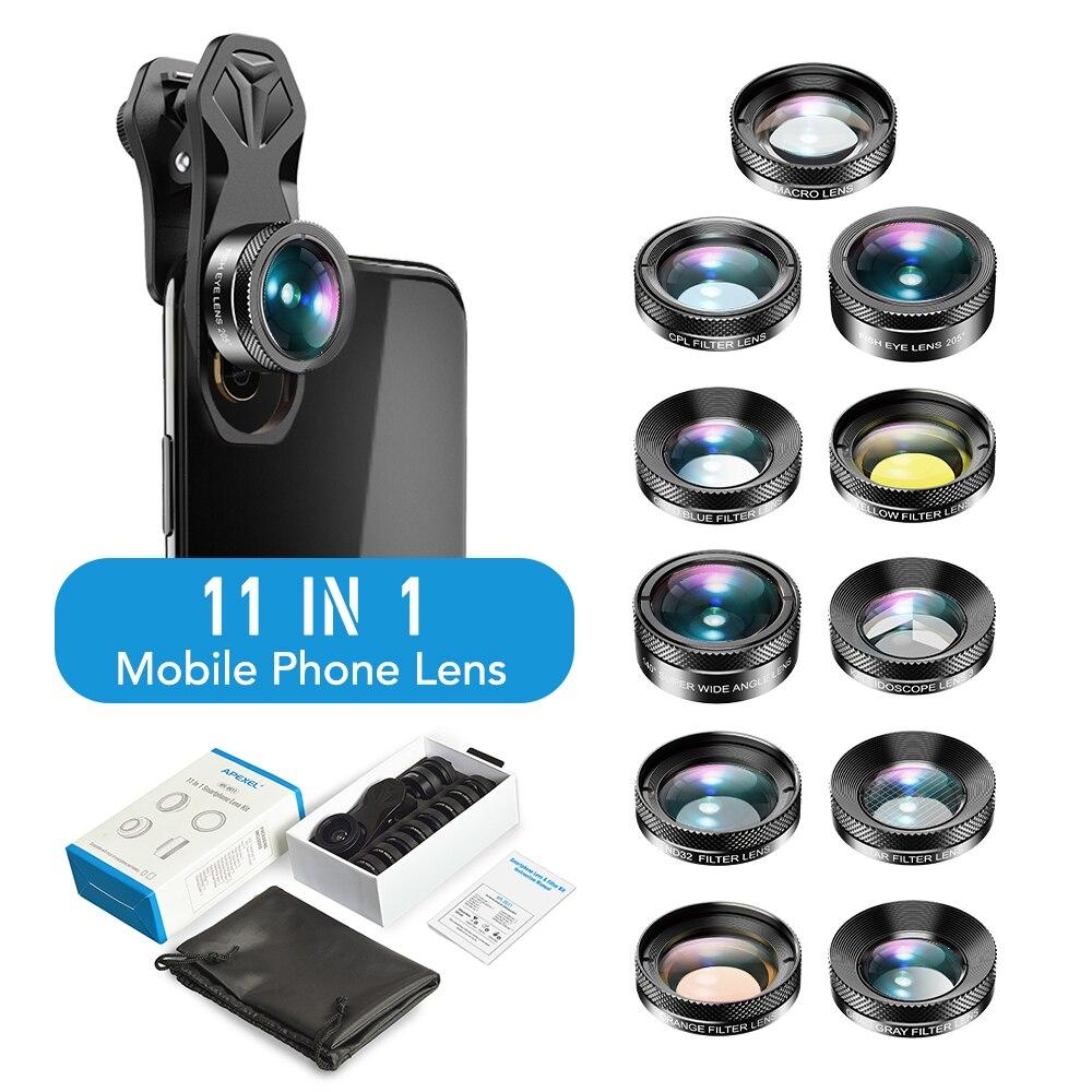 APEXEL 11in1 Phone Camera Lens Kit Fisheye Wide Angle Full/grad Filter CPL ND Macro Mobile Lenses For iPhone Samsung Redmi phone