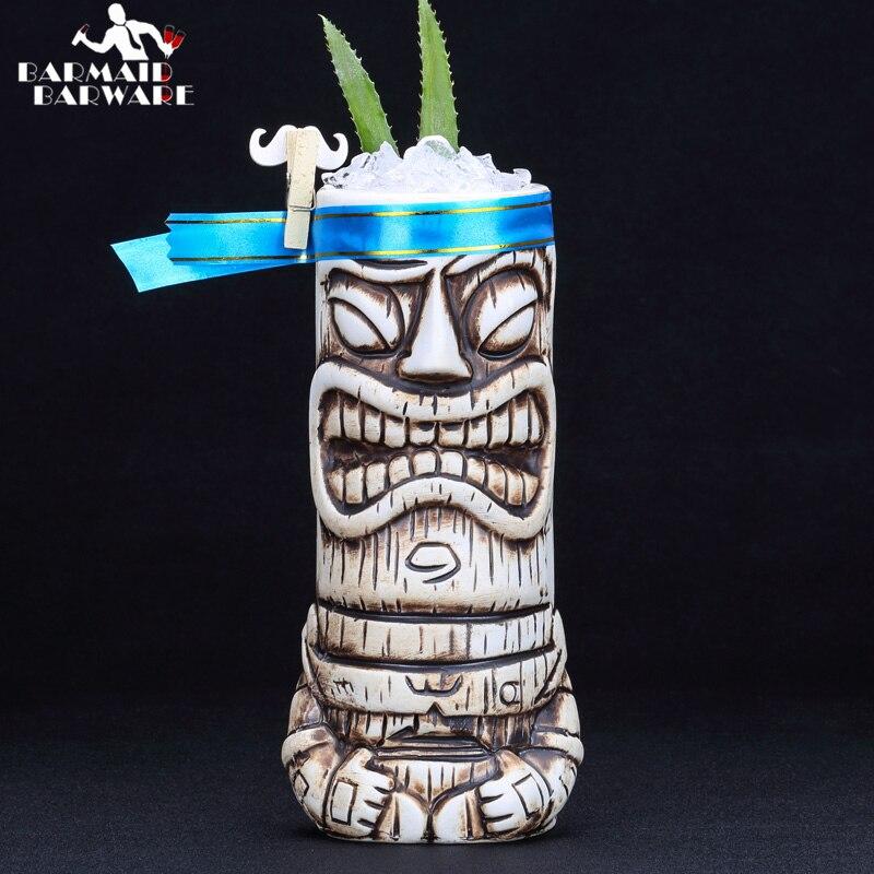 600ml Ceramic Tiki Mug Creative Porcelain Beer Wine Mug Cup Bar Tool