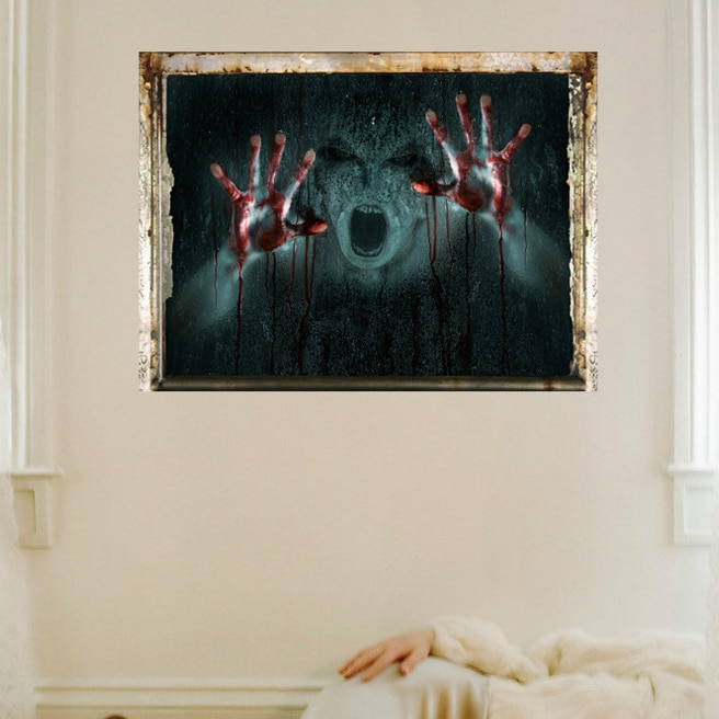 Papel pintado gótico de Halloween efecto terror creativo pegatinas juego potencia limitada fantasma pared decoración calcomanía decoración del hogar mural Halloween