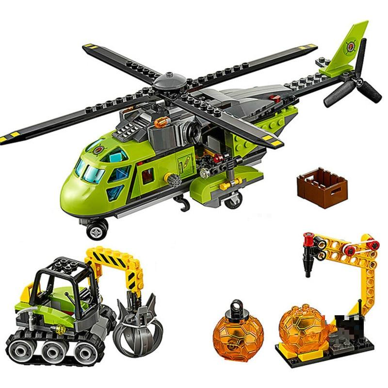 10640 helicóptero de fuente del volcán Series de la ciudad bloques de construcción de ladrillos de los niños juguetes de Navidad Compatible volcán 60123