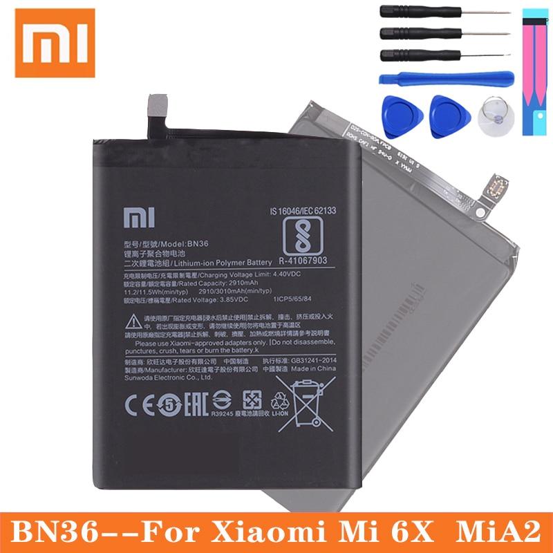 Xiao Mi Original Phone Battery BN36 for Xiaomi Mi 6X Mi6X Mi A2 MiA2 2910mAh High Capacity Replacement Battery Free Tools