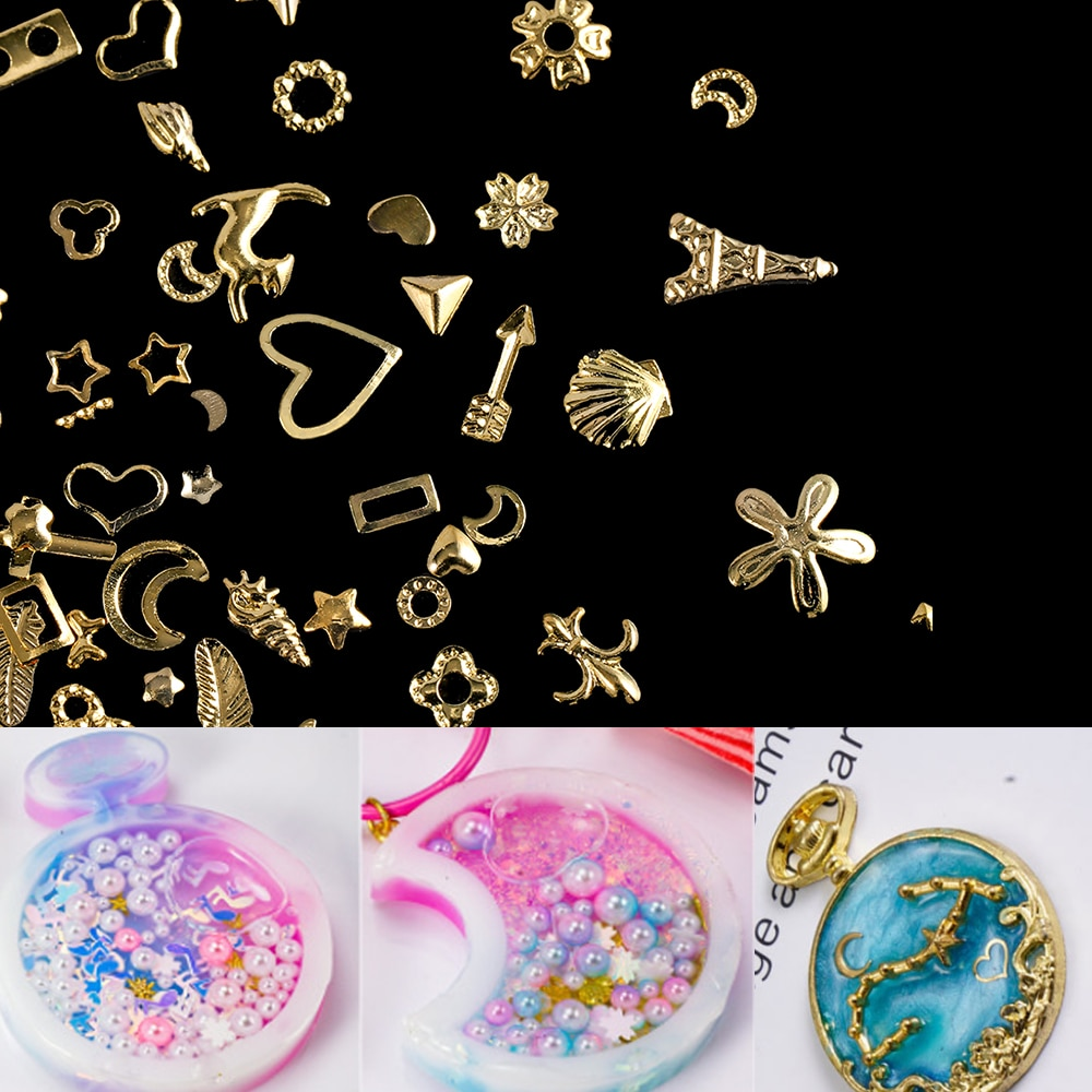 AliExpress - 1Box Gold Nail Art Metal 3D Mix Frame Jewelry Filling UV Resin Epoxy Mold Making Filling For DIY Jewelry Making Accessories