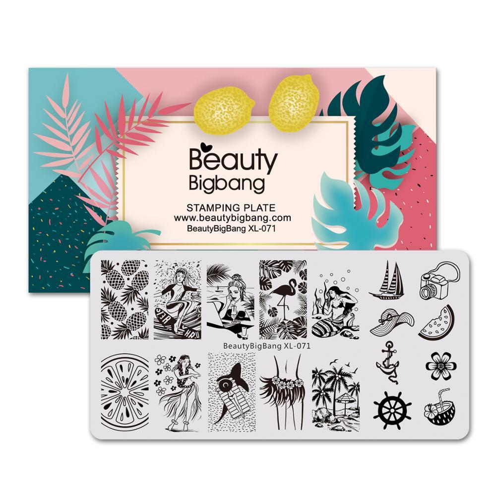 Пластины для стемпинга ногтей Beautybigbang, 6*12 см, нержавеющая сталь, летнее изображение Русалочки ананаса, штамповочный трафарет для дизайна ногтей, XL-071