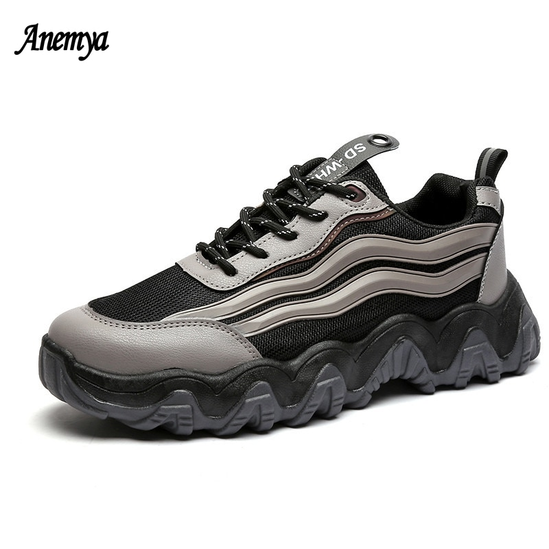 Reflective Platform Men's Casual Shoes Black Thick Bottom Man Lace Up Vulcanized Sneakers Breathable Mesh Sports Shoes Male Gray