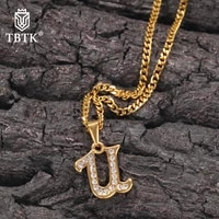 tbtk hiphop a z new cursive letters name pendant necklace english initial letters fashion charm jewelry for gift