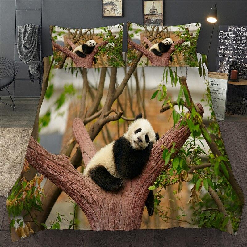 3D милое постельное белье с пандами с изображением животных, комплект детской одежды, рисунок королевы двуспальная Bedclothess один включает подо...