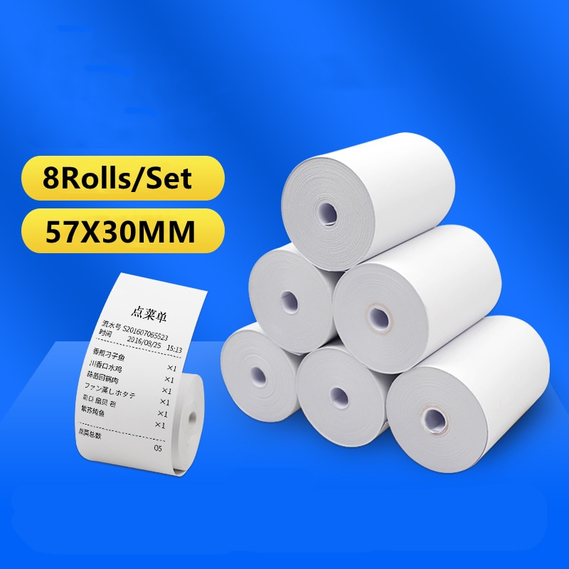 57X30mm 8 Rolls Thermal Paper Label Paper Thermal Paper for Mobile Bluetooth Cash Registers POS Printer Mini Printer Accessories