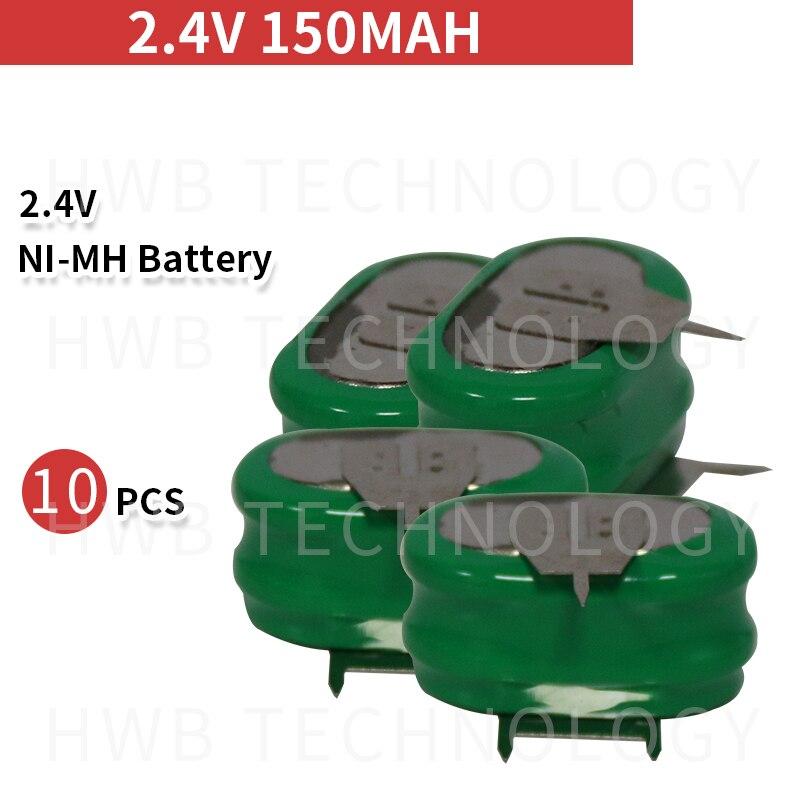 10 peças/lote original novo kx 2.4 v 150 mah ni-mh recarregável botão pilha bateria ni mh baterias com pinos frete grátis