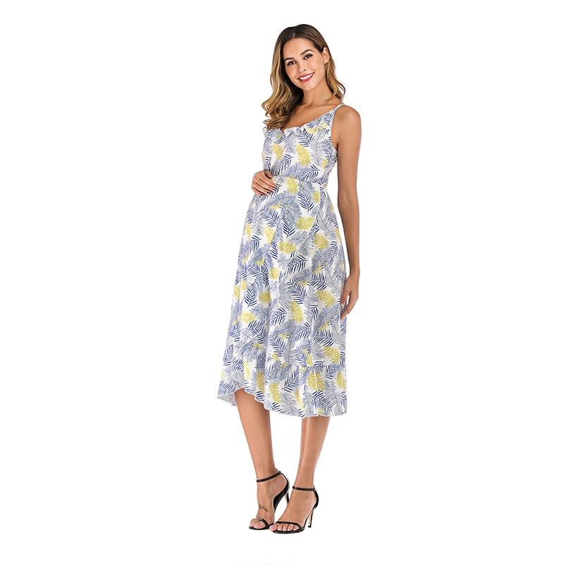 Summer Casual Maternity Dress Sexy Deep V Elegant Sling Ruffle Irregular Print Pregnant Woman Clothes Pregnancy Dresses vestidos enlarge