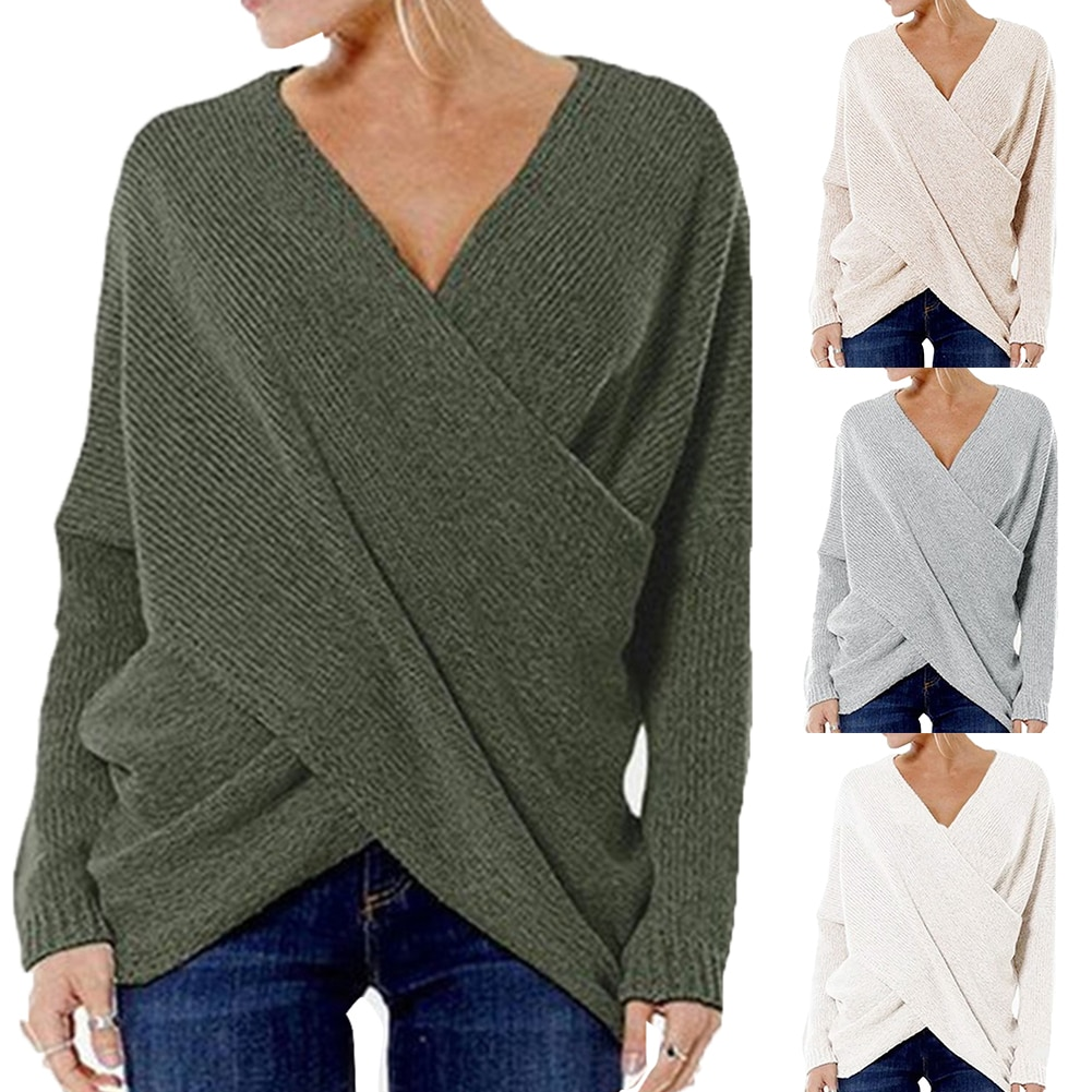 Women Autumn Sexy Knitted Sweater Vintage Cross Criss Pullovers Casual V Neck Loose Jumpers Solid Irregular Hem