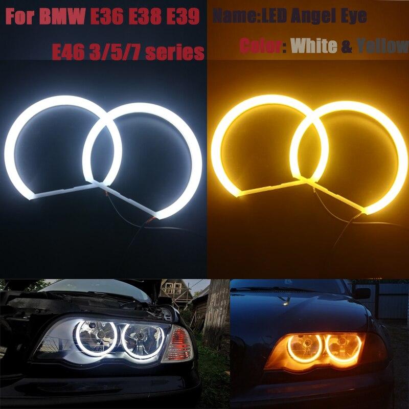 Cotton Halo Ring Light SMD LED Angel Eyes For BMW E46 E39 E38 E36 Projector Headlight White Yellow E39 Angel Eye 4*131mm CCFL