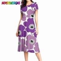 noisydesigns purple poppy flower printed women long dresses short sleeve dress floral flower design summer clothes dropshipping