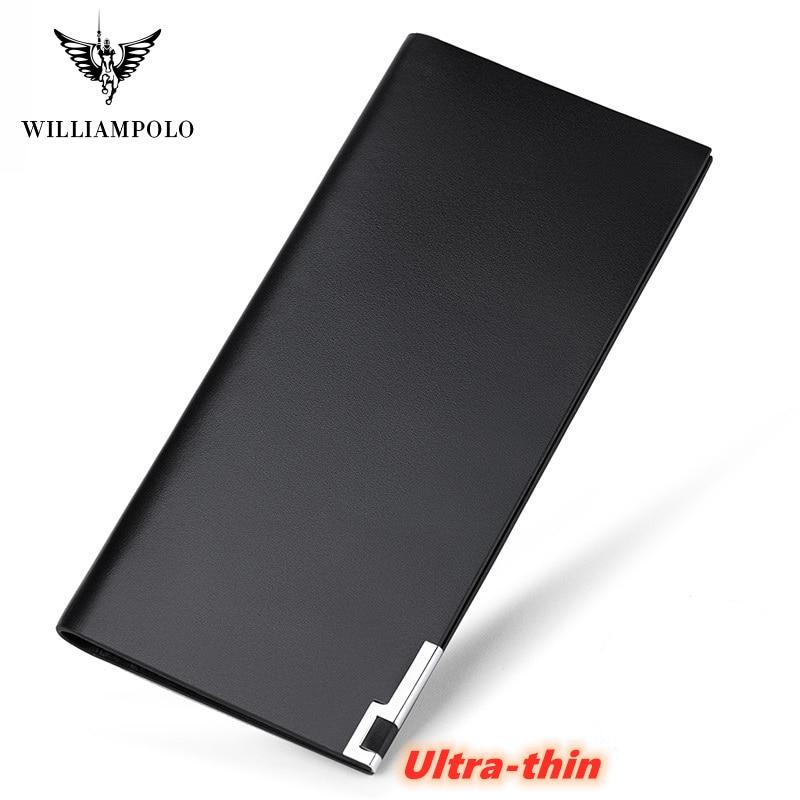 WILLIAMPOLO marque de luxe en cuir véritable portefeuille hommes porte-cartes Marvel Ultra-mince mince multi-cartes porte-monnaie Long porte-carte