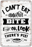 decoration metal tin sign i cant eat another bite oh look theres pie retro kitchen dining room wall decoration metal plate