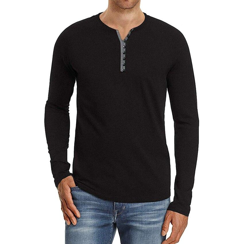 Camisetas de algodón para hombre, camisetas casuales de manga larga, de color...