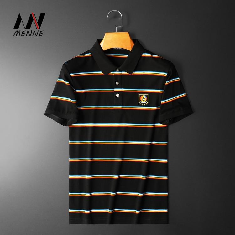 Летняя Хлопковая мужская полосатая рубашка-поло, дышащая мужская рубашка-поло с коротким рукавом, 2020