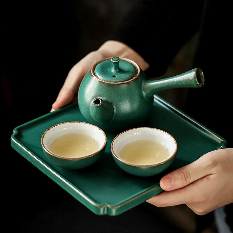 PINNY Japanese Coarse Pottery Tea Set With Tea Tray Retro Ceramic Kung Fu Teaware Sets Pigmented Tea Service