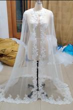 Longue Cape de mariage voile dentelle blanc/ivoire enveloppes Appliques dentelle veste de mariage cape de mariée noir Cape capelet accessoire de mariage