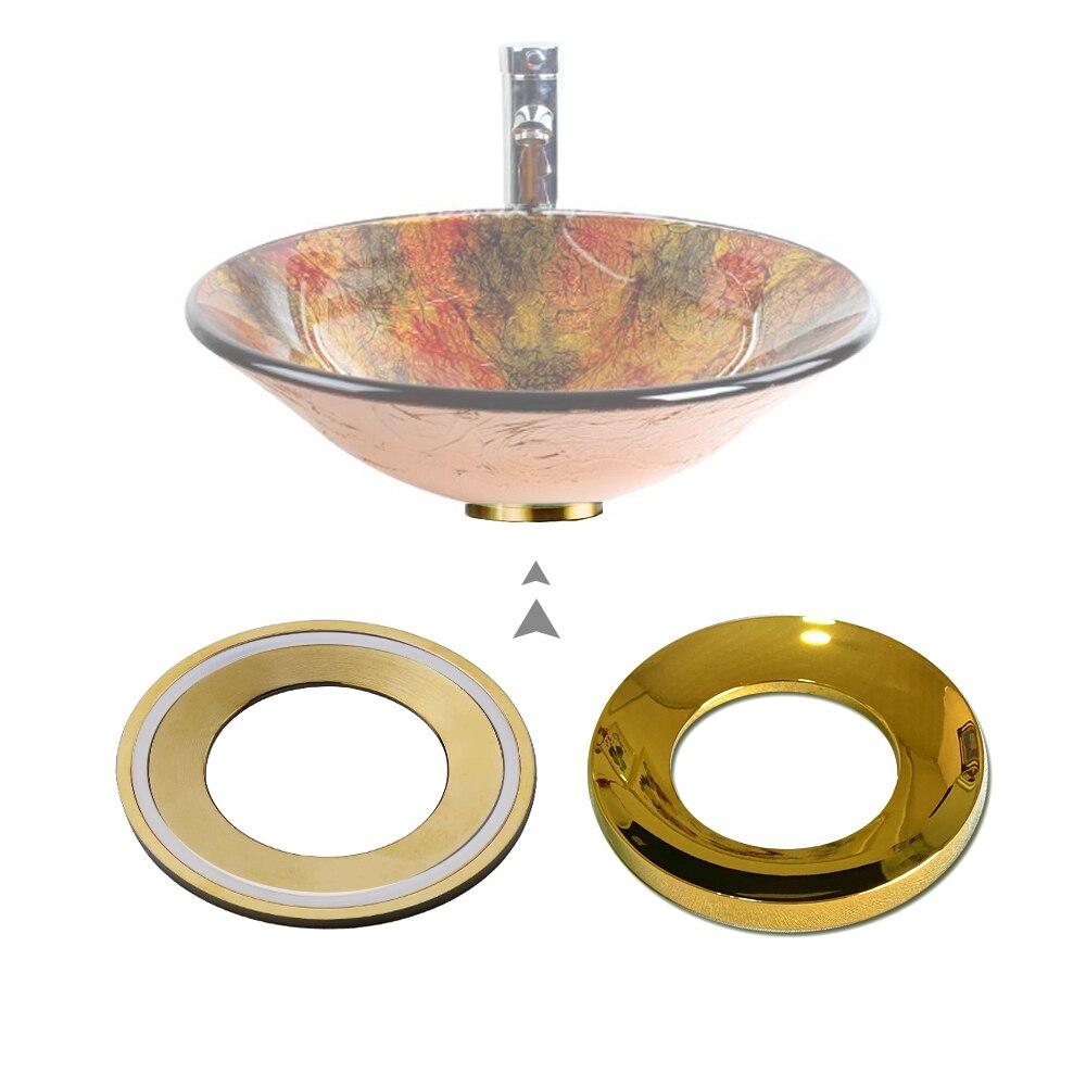 Монтажное кольцо для стеклянной раковины, ванной комнаты, раковины, черная хромированная подкладка, Монтажное кольцо для раковины, доступн...