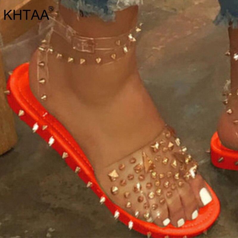 Women Shoes Sandals Summer Rivet Punk Women's Flats Shoes Ankle Strap Female Cool Girls Buckle Transparent Bling Ladies Slippers