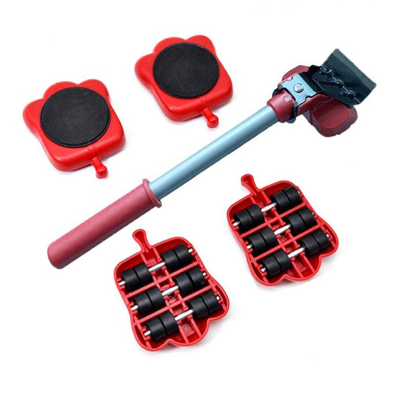 Furniture Mover Tool Set Heavy Stuffs Transport Lifter 4 Wheeled Mover Roller with Wheel Bar Moving Hand Device