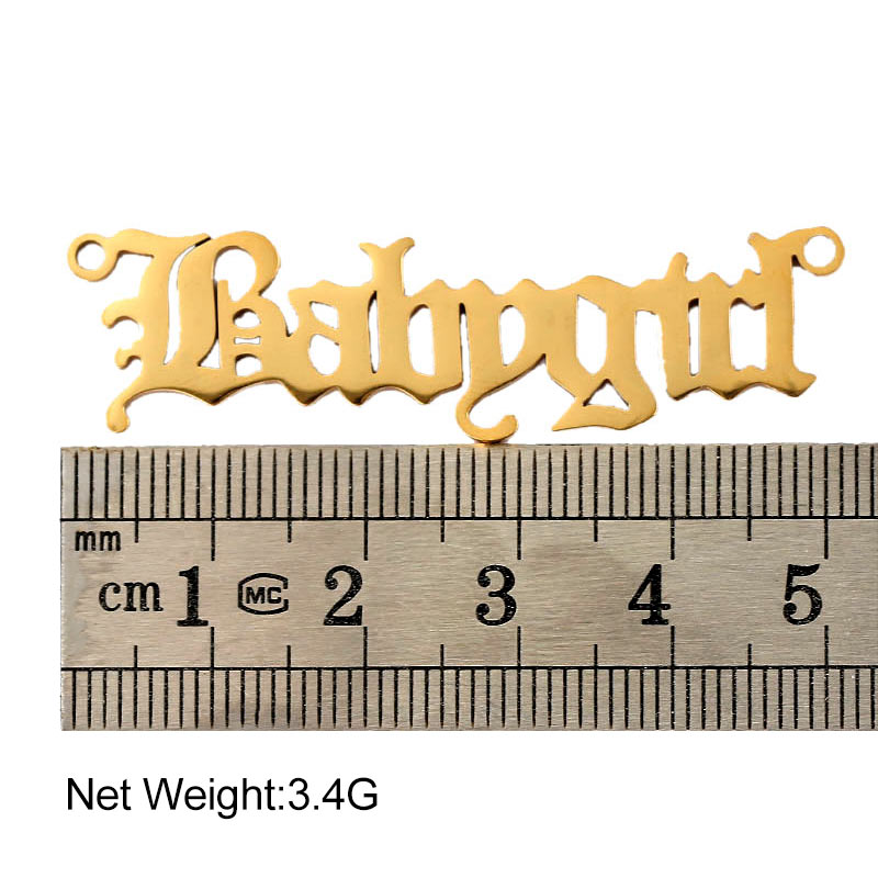 1Stainless Steel Babygirl Alphabet Charms 51*13mm Gold Silver Color Letter Pendant For Women Necklace Jewelry Accessories  - buy with discount