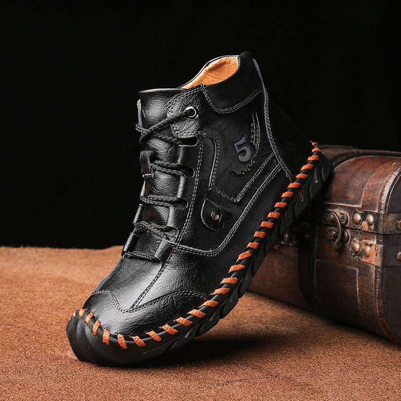 Size 48 Men Winter boots Split Leather Boots Men Boots Super Comfort Winter Shoes Men Ankle Boots Fashion Sneakers junjarm autumn winter men canvas boots army combat style men ankle boots fashion high top military men s shoes comfort sneakers
