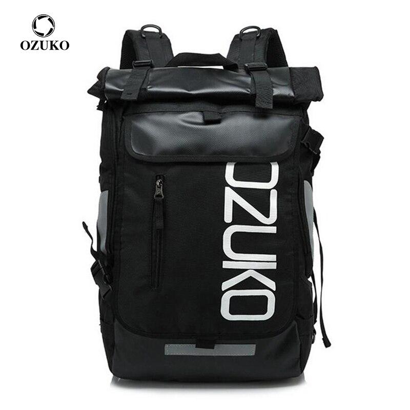 OZUKO موضة الرجال حقيبة المدرسة 15.6 بوصة محمول على ظهره للمراهقين طالب عادية حقيبة مدرسية مقاوم للماء السفر Mochila حقيبة